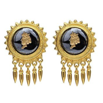 Ben-Amun - Royal Charm Dark Cameo Stone Gold Spike Drop Clip-On Earrings