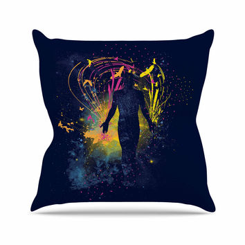"Frederic Levy-Hadida ""The Birds Master"" Blue Multicolor Throw Pillow"