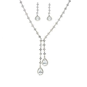 Abella CZ Double Pear Drop Necklace Set