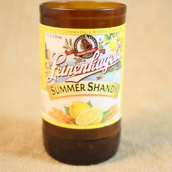 Drinking Glasses from Recycled Leinenkugel Summer Shandy Beer Bottles, 8 oz, Unique Barware, Unique Gift, ONE glass