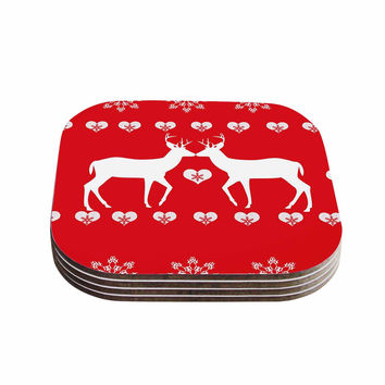 "Suzanne Carter ""Christmas Deer 2"" Holiday Pattern Coasters (Set of 4)"