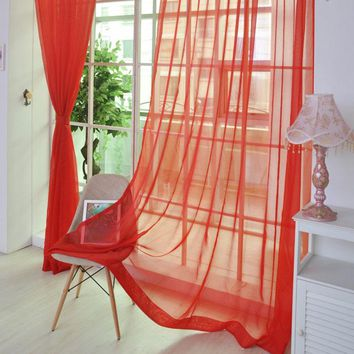 2 Piece/Pack  Solid Window Curtains 12 Colors 1*2M Home Decoration Valances Tulle Window Voile Curtains VBJ81 P20
