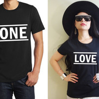One Love Graphic Print His and Hers Cute Matching Couple Lightweight Cotton T-shirts 1 pair (Gift for Couples) FREE SHIPPING