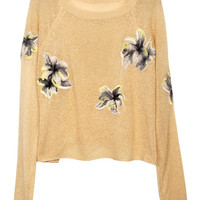 Khaki Floral Cropped Sweater