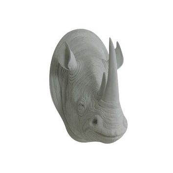 The Serengeti | Large Rhino Head | Faux Taxidermy | Gray Resin