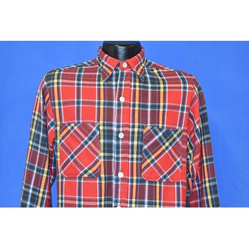 70s Big Mac Red Black Yellow Flannel Plaid Shirt Small