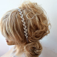 Bridal Hair Accessory, Rhinestone headband, Wedding hair Accessory, Leaf Motif With Ribbons, Silver Color Rhinestone