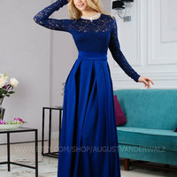 Evening gown, special occasion woman dress, Maxi dress, Formal Dress, Dress lace, Blue Dress , Sexy Dress, Evening dress, Long Sleeve dress