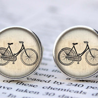 vintage bicycle cufflinks, personalized cuff links