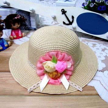 ONETOW 1Pcs 2017 New Three Rose Summer Children Sun Hat Spring Adult And Girl Beach Straw Hats Parent-child Cap 8 Colors 6144