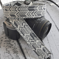 dSLR Camera Strap - Grey and White Sunprint Feathers - Grey Camera Strap dSLR
