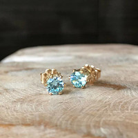 Aquamarine Earrings, Aquamarine Earrings in Gold or Silver, Gold or Silver Aquamarine CZ Stud Earrings, Aquamarine CZ Stud Earrings