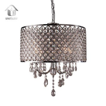 Modern Crystal Large Drum Chandelier Max 240W with 4 Lights Chrome Finish
