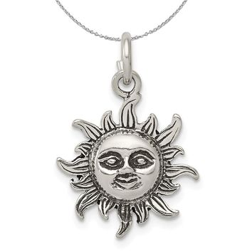 Sterling Silver 17mm Antiqued Sun Necklace