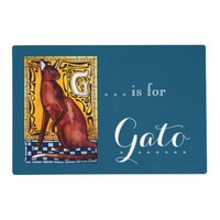 G is for Gato Havana Cat with Monogram G Placemat