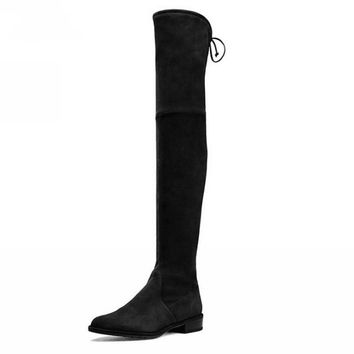 Women Over The Knee Boots Suede Thigh High Boots 2016 Autumn Winter Ladies Fashion Fur