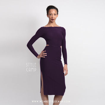 Clara Vampy Maxi Dress with Cut Outs in Purple