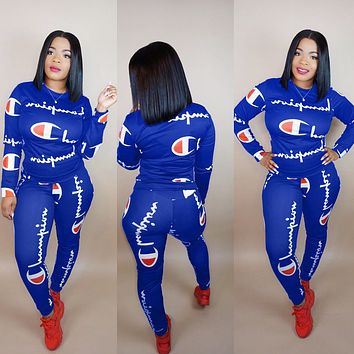 Champion Fashionable Women Casual Print Top Pants Trousers Set Two-Piece Sapphire Blue