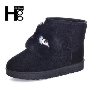 HEE GRAND 2017 Winter Snow Boots Black Cute Animal Pattern Faus Fur Plush Warm Thick Platform Fashion Booties Size 40 XWX6158