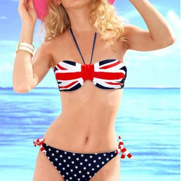 SEABBOT Women Popular Sexy Bikini Set Swimsuits with American and British Flag Low Waist Off Shoulder Swimwear 2018 Summer Wear