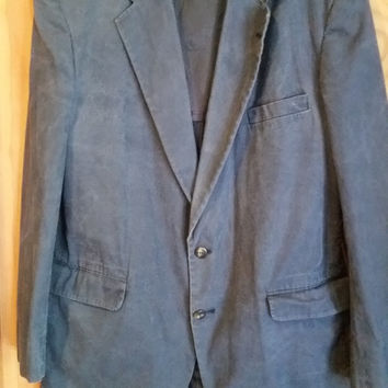 LL Bean navy weathered linen canvas blazer jacket 44L