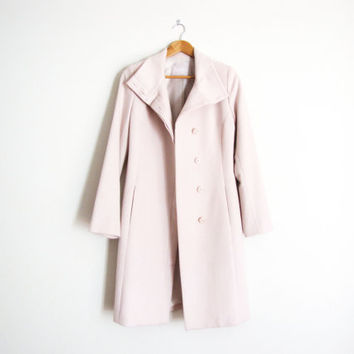 vintage cashmere wool trench coat / pink minimal long coat structured