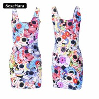 2017 New Color Floral Skull Pattern Dress Vestido Women Summer Dude Party Design Package Hip Sexy Dresses Plus Size X-221 1
