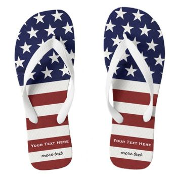 American USA Flag Patriotic July 4th Custom Flip Flops