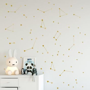 Constellation Wall Decal Kids Bedroom Removable Decoration Outer Space Nursery Sticekrs Zodiac Astronomy Art Mural Decor ZB162