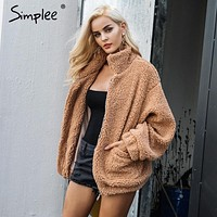 Womens Faux Lamb Wool Oversized Coat Winter Jacket