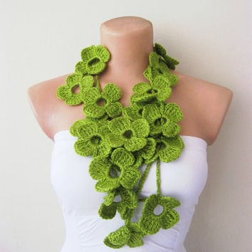 Hand Crochet Green Flowers Lariat Scarf by fairstore on Etsy