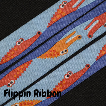 Alligators in Water Jacquard Ribbon, 2 yards, 5/8 inch wide