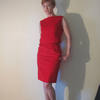Mid Century Party Dress. Cherry Red Velvet. Wiggle Skirt. Fitted Top. 2 Piece. Size S.