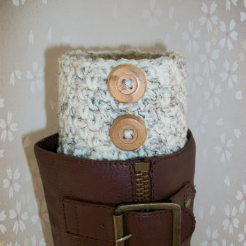 Boot Socks , Boot Cuffs , Womens Boot Socks Cream Wool Wood Buttons