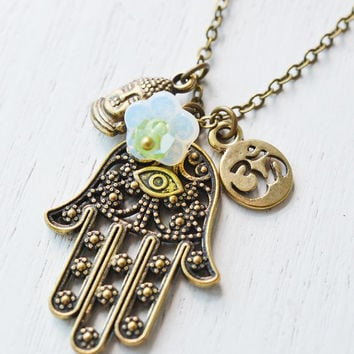 hamsa hand necklace,hand of fatima,om necklace,buddha jewelry,yoga jewelry,spiritual gift,religion jewelry,evil eye pendant,long necklace