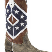 ROPER LADIES FLAGS BOOTS REBEL FLAG BROWN TOE CAP SNIP TOE