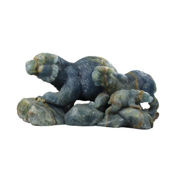 """Family of Bears Statue Blue Calcite - Hand Carved 18.5"""" x 8"""" x 8"""""""