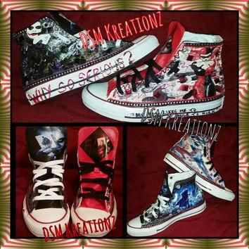 Custom HARLEY QUINN & The JOKER Converse All Star Chuck Taylors