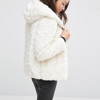 New Look Faux Fur Shearling Hooded Jacket at asos.com