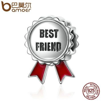 Popular Genuine 925 Sterling Silver Friendship Stamp Best Friend Flower Gift Beads fit Charm Bracelets Jewelry SCC174