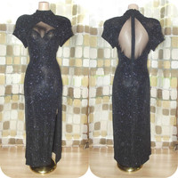Vintage 80s Silver & Black Sparkle Stretch Jersey Mesh Cutout Sweetheart Formal Dress Cocktail Gown Side Slit 14 XL 1X