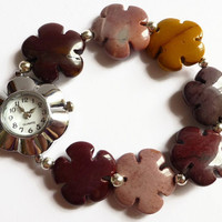 Beaded watch bracelet, multi coloured mookite flower round faced stretch fashion watch, UK shop