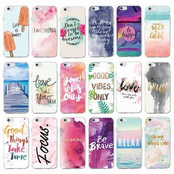 Positive Good Vibe Only Love Happy Trust Quote Soft Phone Case Fundas Coque Cover For iPhone 7Plus 7 6Plus 6 6S 5S SE 8 8Plus X