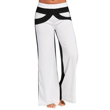 Women Patchwork Bell Bottoms Flare Trousers Mid Waisted Wide Leg Yoga Pants