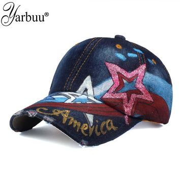 New fashion high quality star USA flag painting jean materialv baseball cap Adjustable  Casual Snapback hat cap