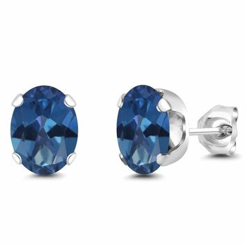 3.20 Ct 8x6mm Oval Royal Blue Mystic Topaz Silver Plated Stud Earrings