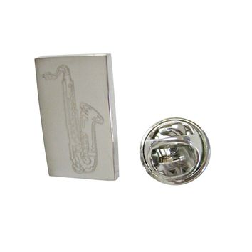 Silver Toned Etched Saxophone Music Instrument Lapel Pin