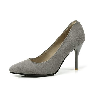 Pointed Toe Pumps Genuine Leather High Heeled Shoes 9174