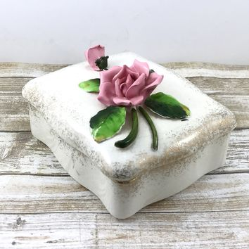 Vintage Porcelain Rose Trinket Dish. Signed Japan Trinket Fine Porcelain Powder Box Handpainted.