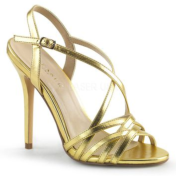 Pleaser Amuse Strappy Gold Pumps
